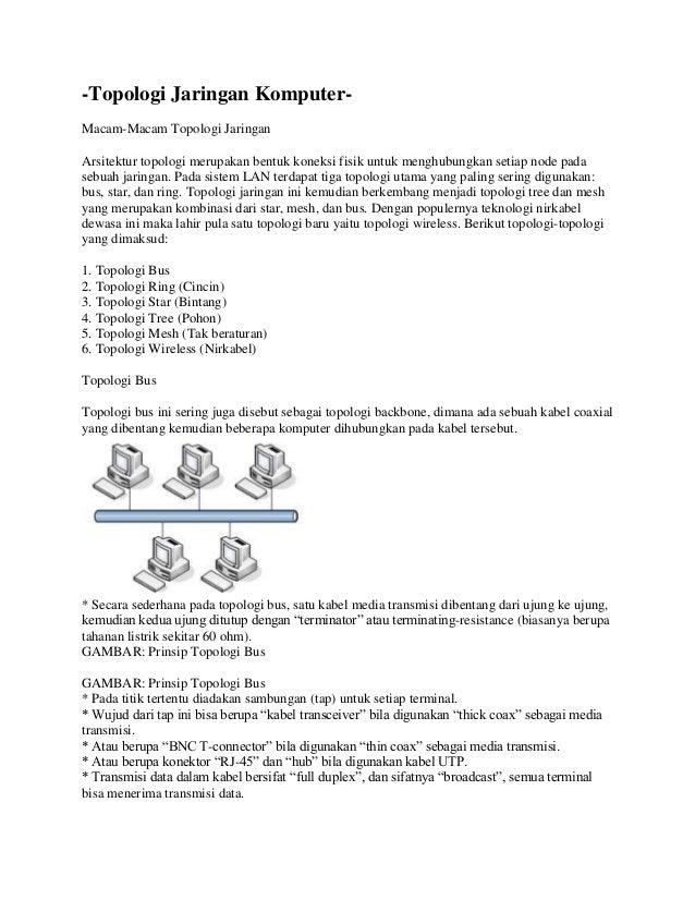 -Topologi Jaringan Komputer-Macam-Macam Topologi JaringanArsitektur topologi merupakan bentuk koneksi fisik untuk menghubu...