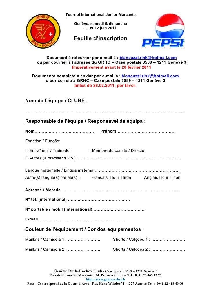 Tournoi international Junior Marcante                                    Genève, samedi & dimanche                        ...