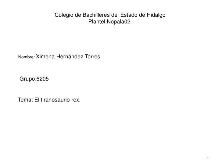 Colegio de Bachilleres del Estado de Hidalgo<br />Plantel Nopala02.<br />Nombre: Ximena Hernández Torres<br />Grupo:6205<b...