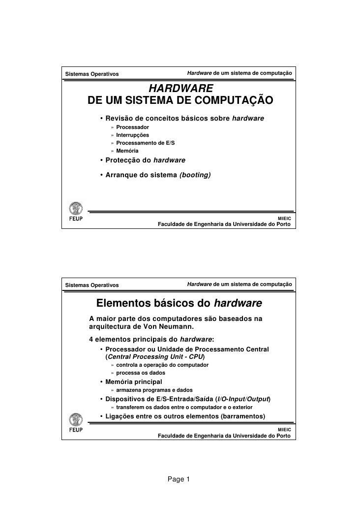 Sistemas Operativos                         Hardware de um sistema de computação                    HARDWARE        DE UM ...