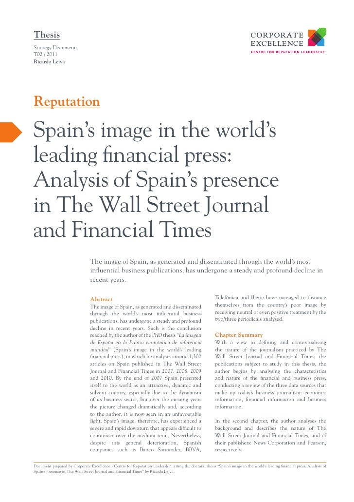 ThesisStrategy DocumentsT02 / 2011Ricardo LeivaReputationSpain's image in the world'sleading financial press:Analysis of S...