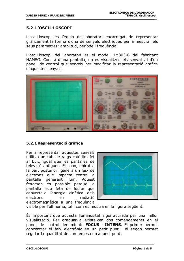 ELECTRÒNICA DE L'ORDINADORXABIER PÉREZ / FRANCESC PÉREZ                         TEMA 05. Oscil.loscopi5.2 L'OSCIL·LOSCOPIL...