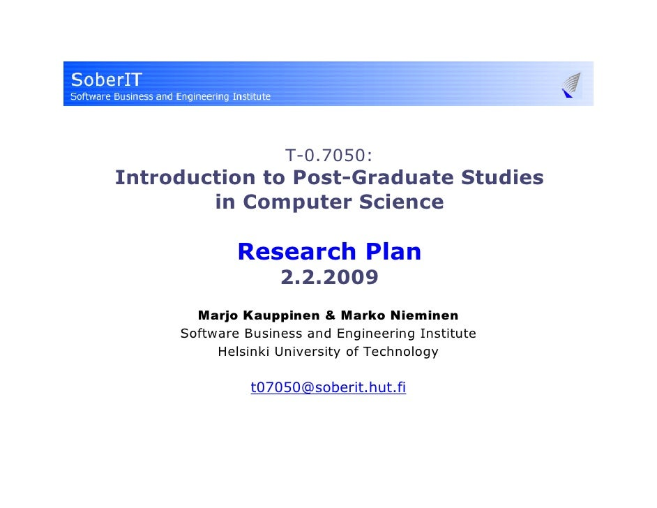 T-0.7050 (2009) Research Plan