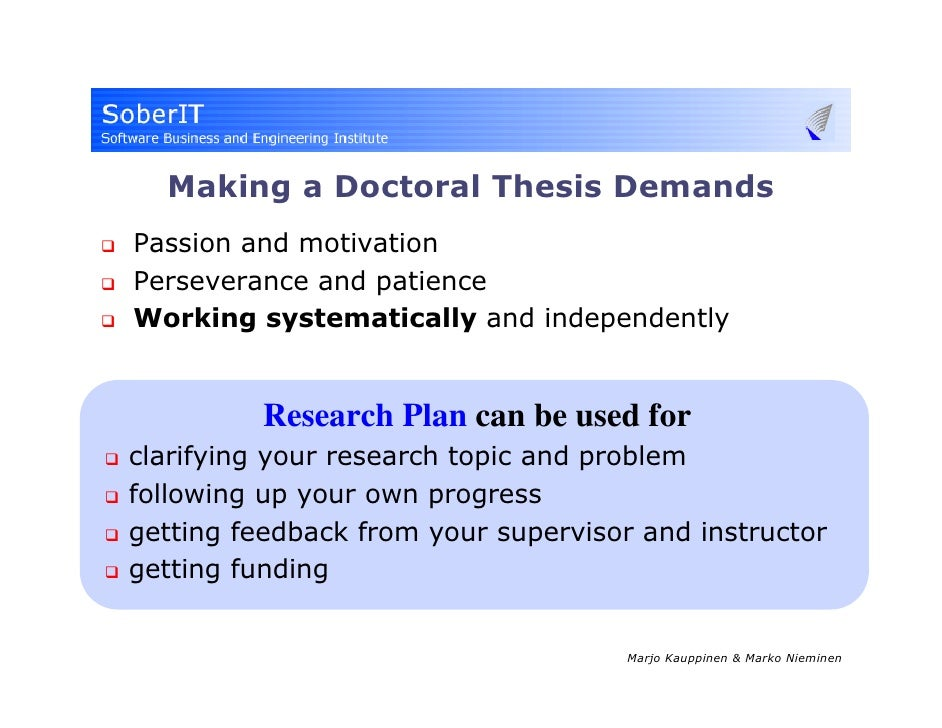 Doctoral thesis research plan