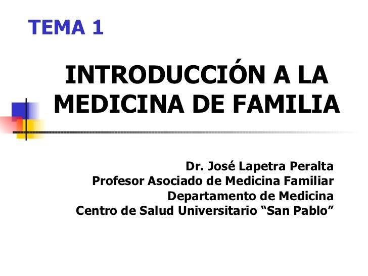 INTRODUCCIÓN A LA MEDICINA DE FAMILIA Dr. José Lapetra Peralta Profesor Asociado de Medicina Familiar Departamento de Medi...