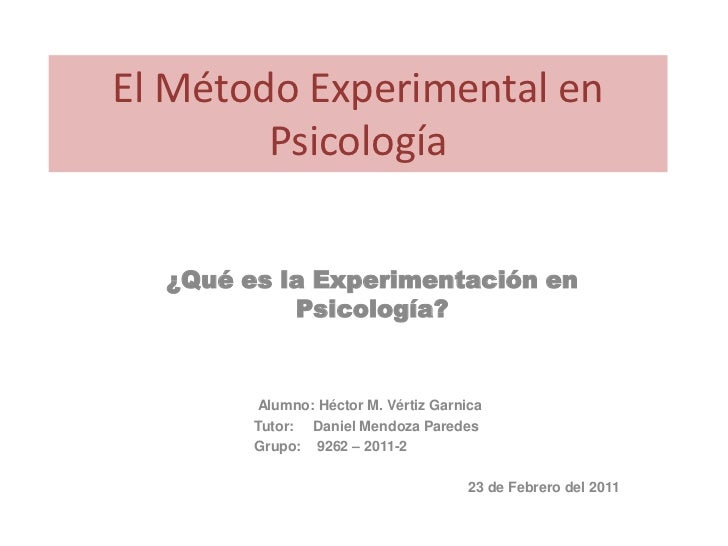 T1  el método experimental en psicología