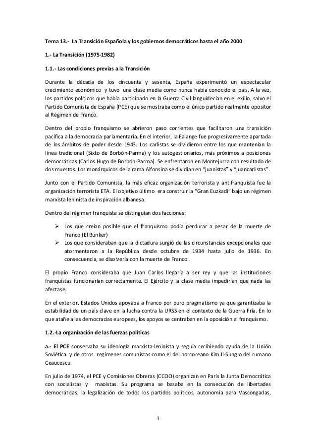 1 Tema 13.- La Transición Española y los gobiernos democráticos hasta el año 2000 1.- La Transición (1975-1982) 1.1.- Las ...