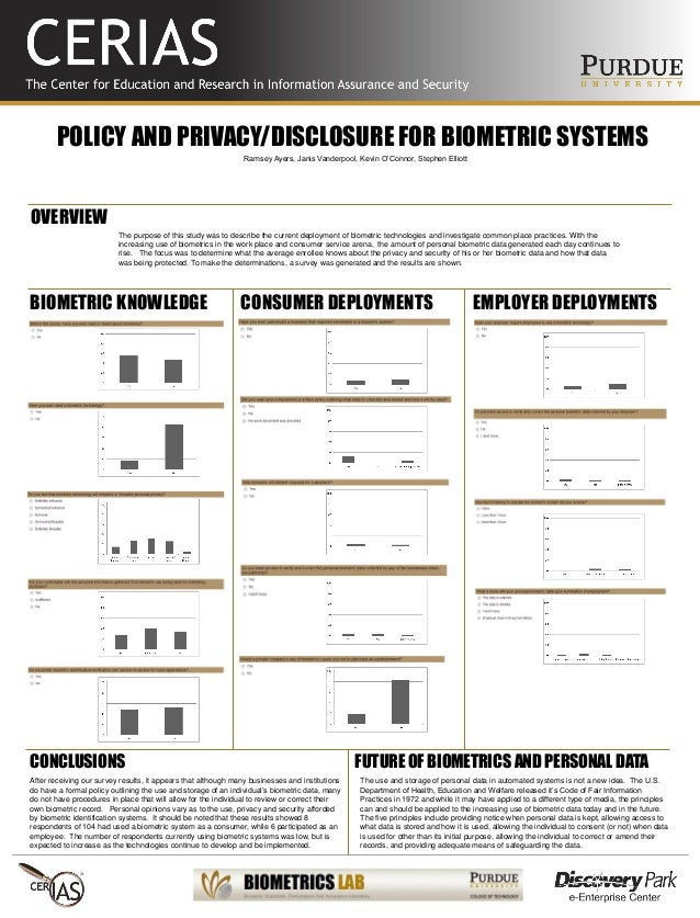 POLICY AND PRIVACY/DISCLOSURE FOR BIOMETRIC SYSTEMS The purpose of this study was to describe the current deployment of bi...
