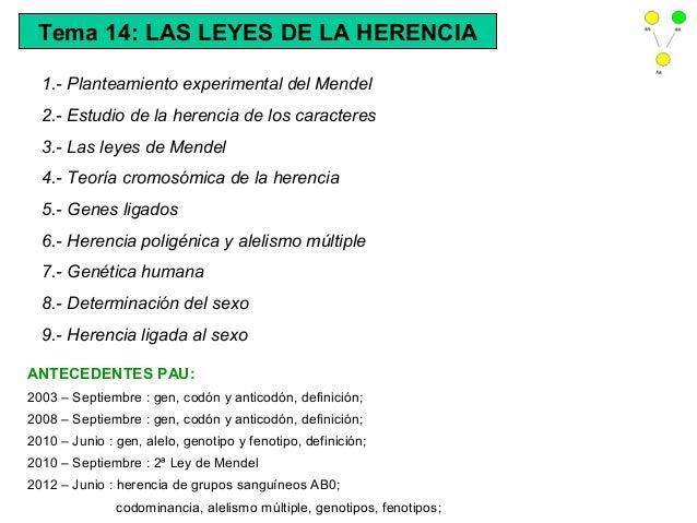 Tema 14: LAS LEYES DE LA HERENCIA  1.- Planteamiento experimental del Mendel  2.- Estudio de la herencia de los caracteres...