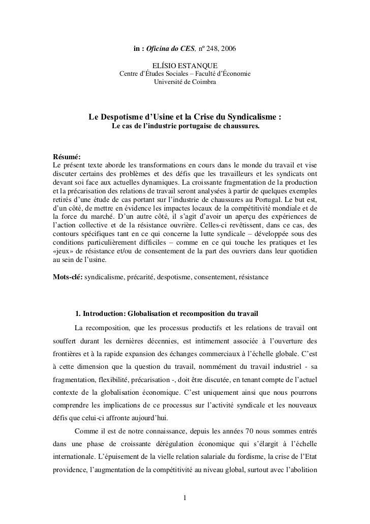in : Oficina do CES, nº 248, 2006                                   ELÍSIO ESTANQUE                       Centre d'Études ...