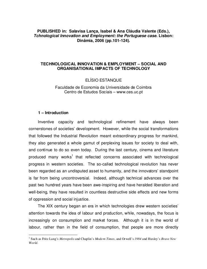 PUBLISHED in: Salavisa Lança, Isabel & Ana Cláudia Valente (Eds.),    Tchnological Innovation and Employment: the Portugue...