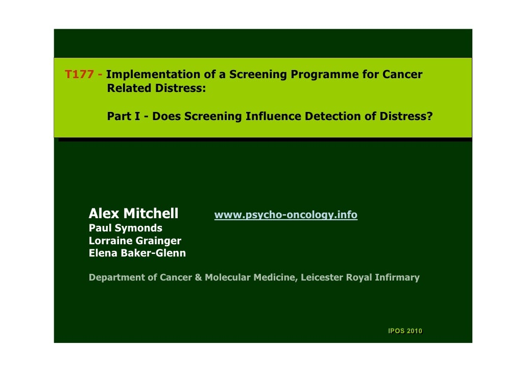 T177 --Implementation of aaScreening Programme for Cancer  T177 Implementation of Screening Programme for Cancer        Re...