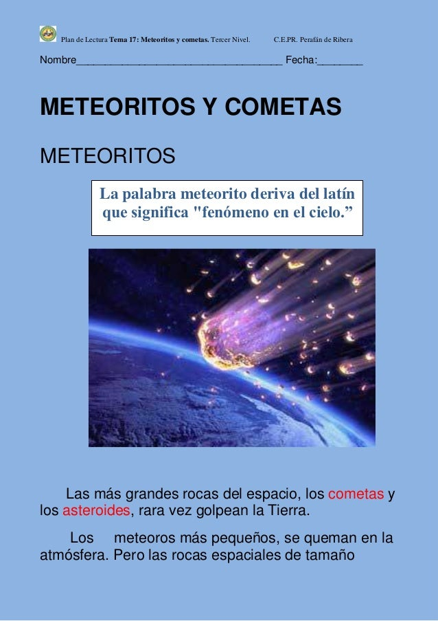 T17 meteoritos y cometas 3º