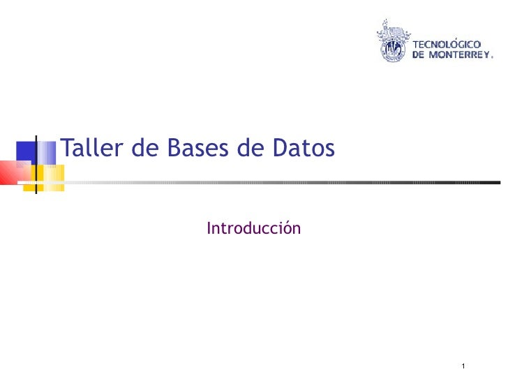 Taller de Bases de Datos               Introducción                                1