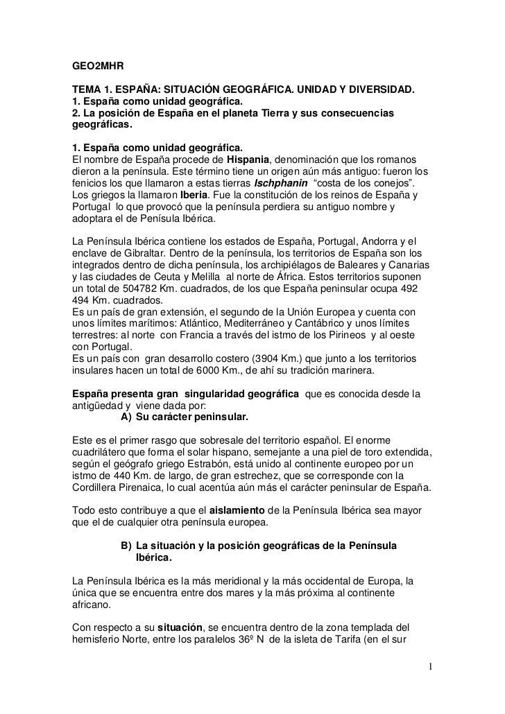GEO2MHRTEMA 1. ESPAÑA: SITUACIÓN GEOGRÁFICA. UNIDAD Y DIVERSIDAD.1. España como unidad geográfica.2. La posición de España...