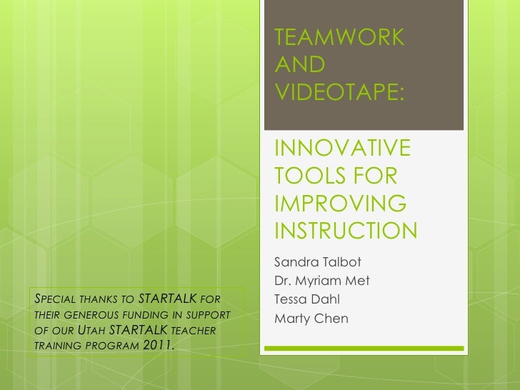 TEAMWORK                                    AND                                    VIDEOTAPE:                             ...
