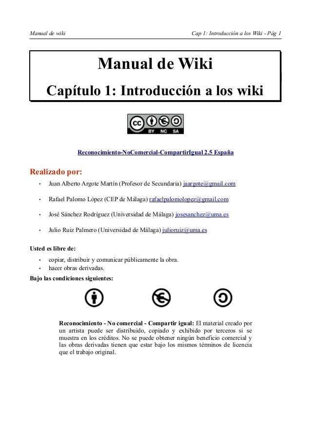 Manual de wiki                                                Cap 1: Introducción a los Wiki - Pág 1                      ...