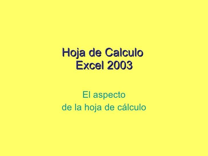 Hoja de Calculo  Excel 2003 El aspecto de la hoja de cálculo