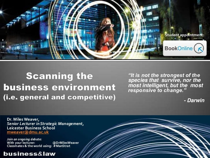Analysing the external environment of business (i.e. general, competitive)