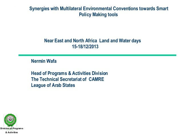 Synergies with Multilateral Environmental Conventions towards Smart Policy Making tools  Near East and North Africa Land a...