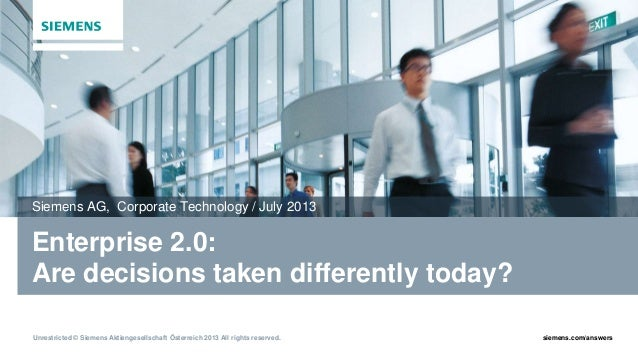 Enterprise 2.0: Are decisions taken differently today?