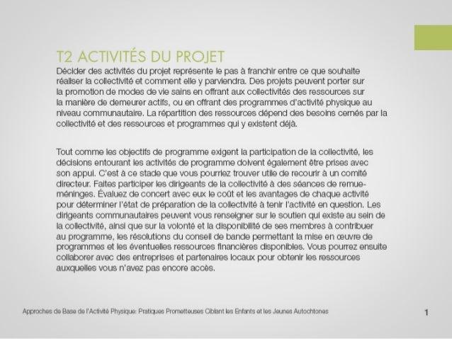 T2 activités du projet