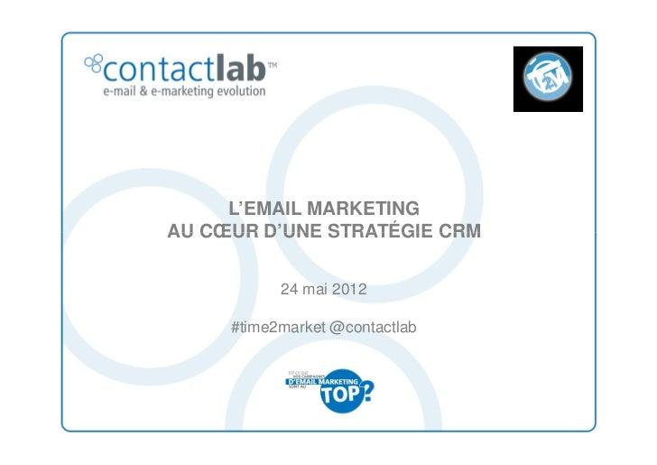 L'EMAIL MARKETINGAU CŒUR D'UNE STRATÉGIE CRM           24 mai 2012     #time2market @contactlab