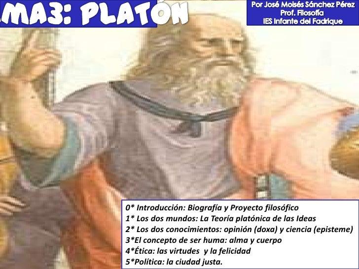 0* Introducción: Biografía y Proyecto filosófico1* Los dos mundos: La Teoría platónica de las Ideas2* Los dos conocimiento...