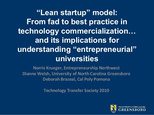 """""""Lean startup"""" model: From fad to best practice in technology commercialization… and its implications for understanding """"e..."""
