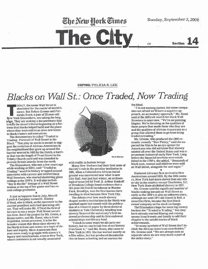 Traded To Trading Documentary in New York Times