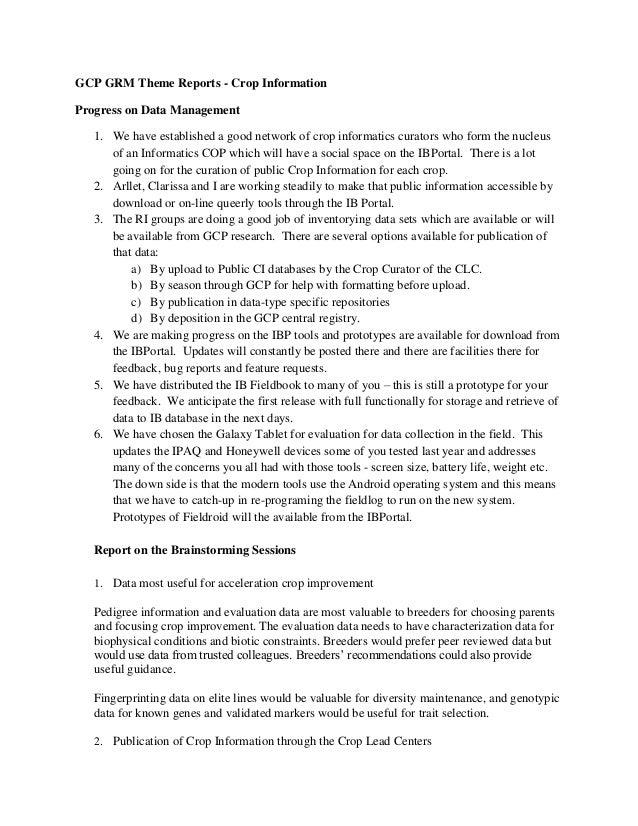 GRM 2011: Theme 3-- Crop information