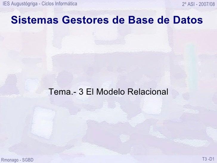 Sistemas Gestores de Base de Datos Tema.- 3 El Modelo Relacional
