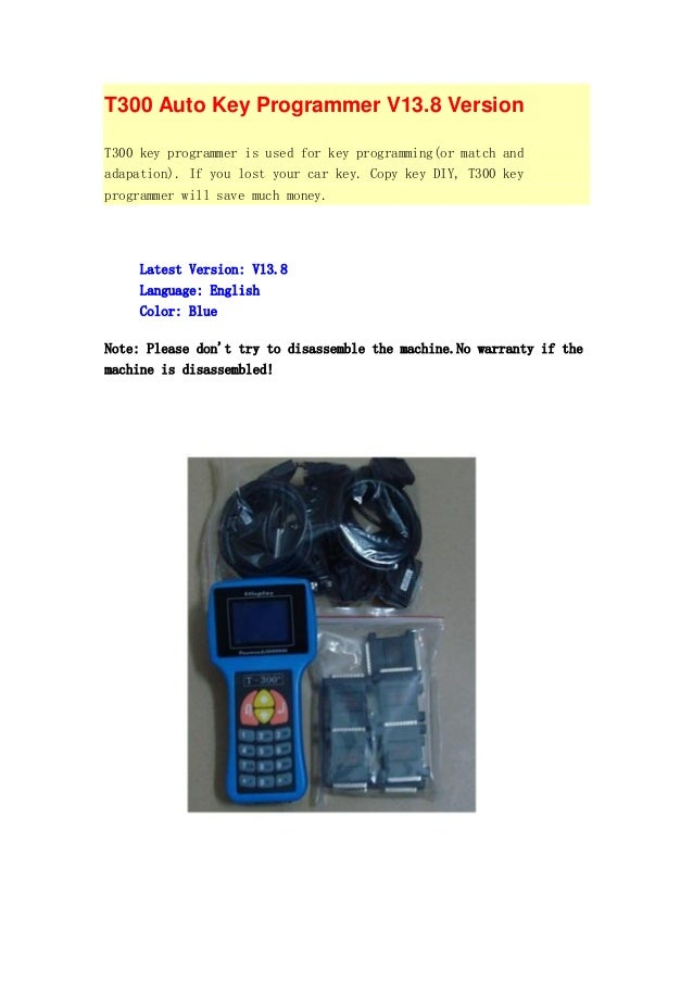 T300 Auto Key Programmer V13.8 Version T300 key programmer is used for key programming(or match and adapation). If you los...