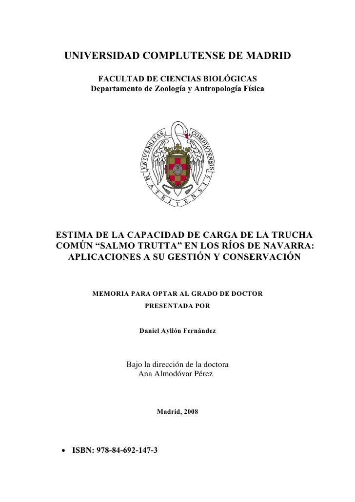UNIVERSIDAD COMPLUTENSE DE MADRID        FACULTAD DE CIENCIAS BIOLÓGICAS       Departamento de Zoología y Antropología Fís...