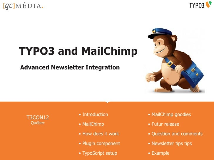 Company Name HereTYPO3 and MailChimpAdvanced Newsletter Integration                  • Introduction          • MailChimp g...