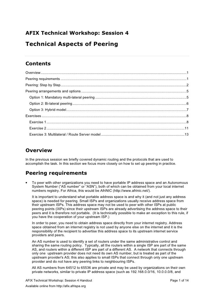 AFIX Technical Workshop: Session 4  Technical Aspects of Peering   Contents Overview.........................................