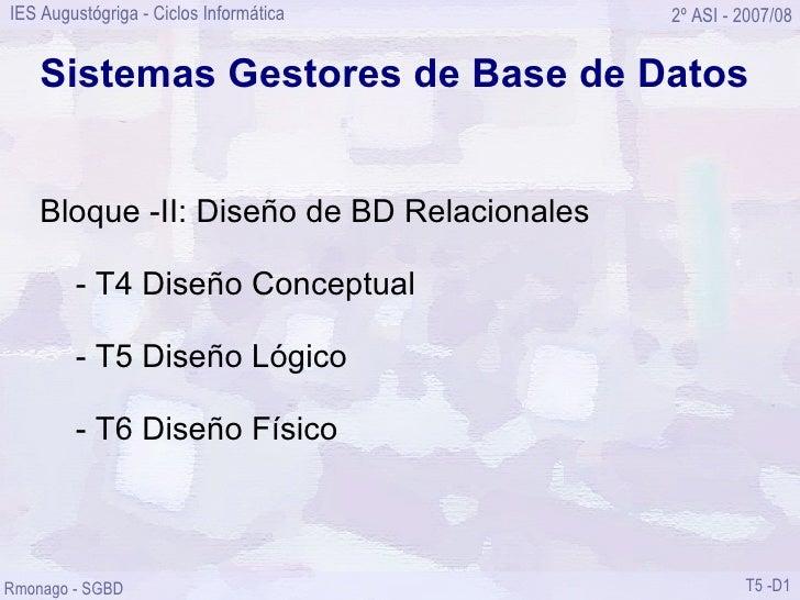 Sistemas Gestores de Base de Datos Bloque -II: Diseño de BD Relacionales - T4 Diseño Conceptual - T5 Diseño Lógico - T6 Di...