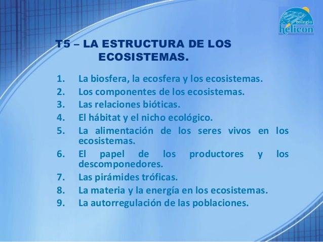 T5 – LA ESTRUCTURA DE LOS       ECOSISTEMAS.1.   La biosfera, la ecosfera y los ecosistemas.2.   Los componentes de los ec...