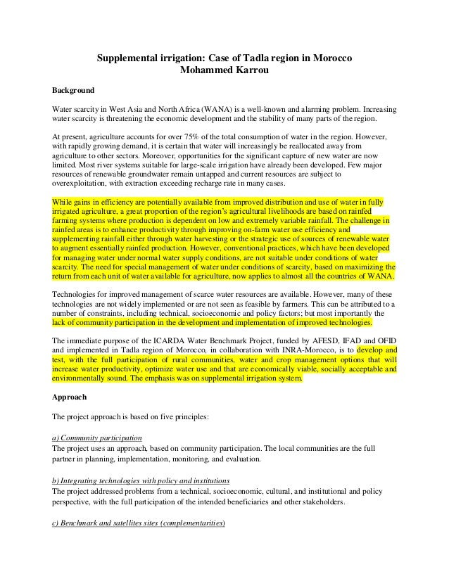 T5: Supplemental irrigation: Case of Tadla region in Morocco