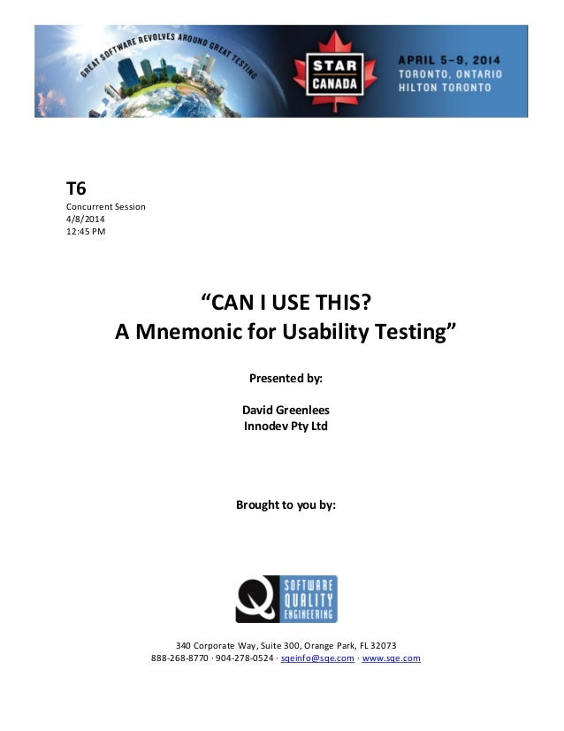 CAN I USE THIS?—A Mnemonic for Usability Testing