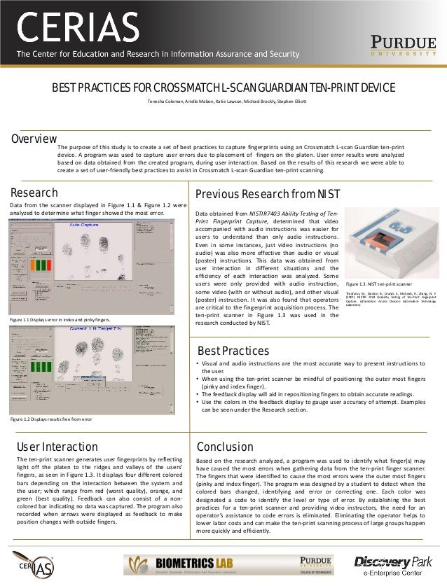 BEST PRACTICES FOR CROSSMATCH L-SCAN GUARDIAN TEN-PRINT DEVICE The purpose of this study is to create a set of best practi...