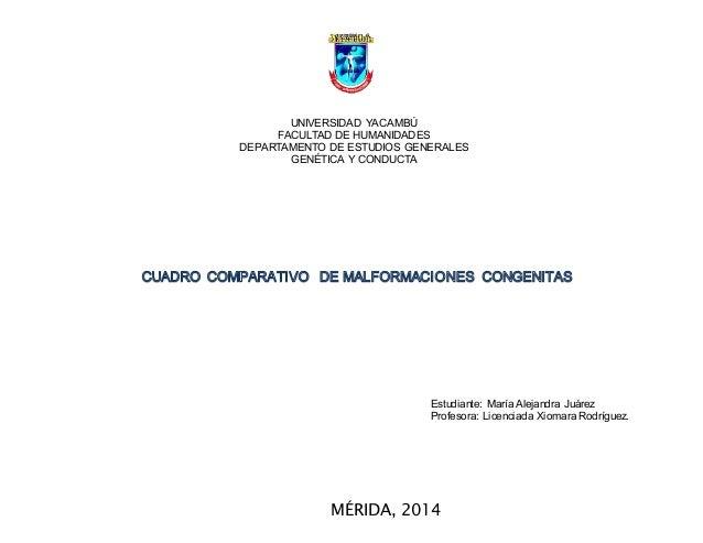 UNIVERSIDAD YACAMBÚ FACULTAD DE HUMANIDADES DEPARTAMENTO DE ESTUDIOS GENERALES GENÉTICA Y CONDUCTA Estudiante: María Aleja...