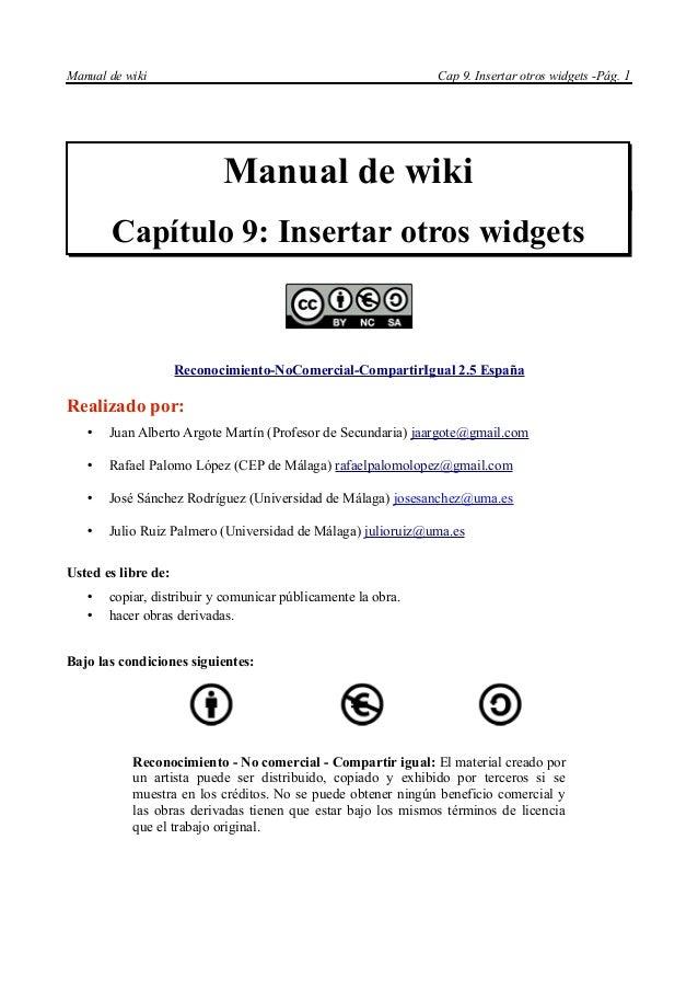Manual de wiki                                                Cap 9. Insertar otros widgets -Pág. 1                       ...