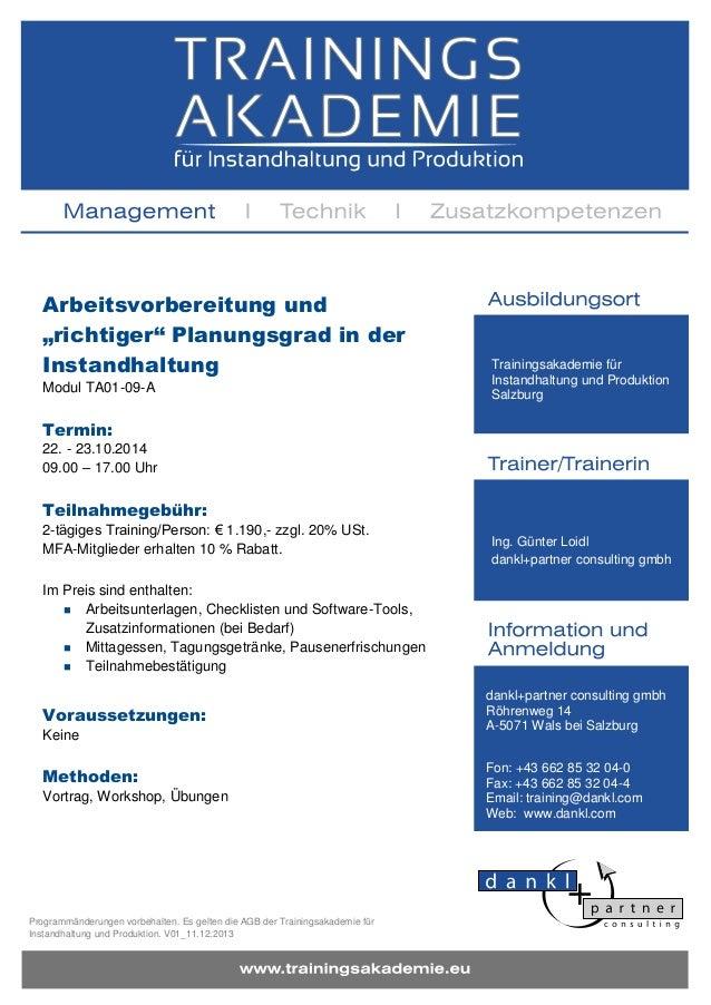 """Arbeitsvorbereitung und """"richtiger"""" Planungsgrad in der Instandhaltung Modul TA01-09-A  Trainingsakademie für Instandhaltu..."""