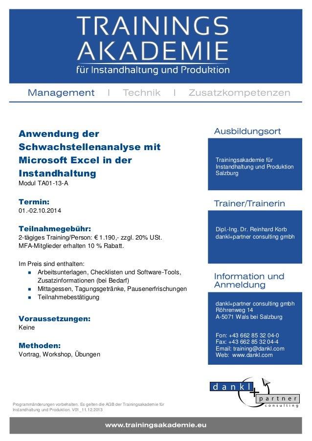 Anwendung der Schwachstellenanalyse mit Microsoft Excel in der Instandhaltung - Training TA01-13-A
