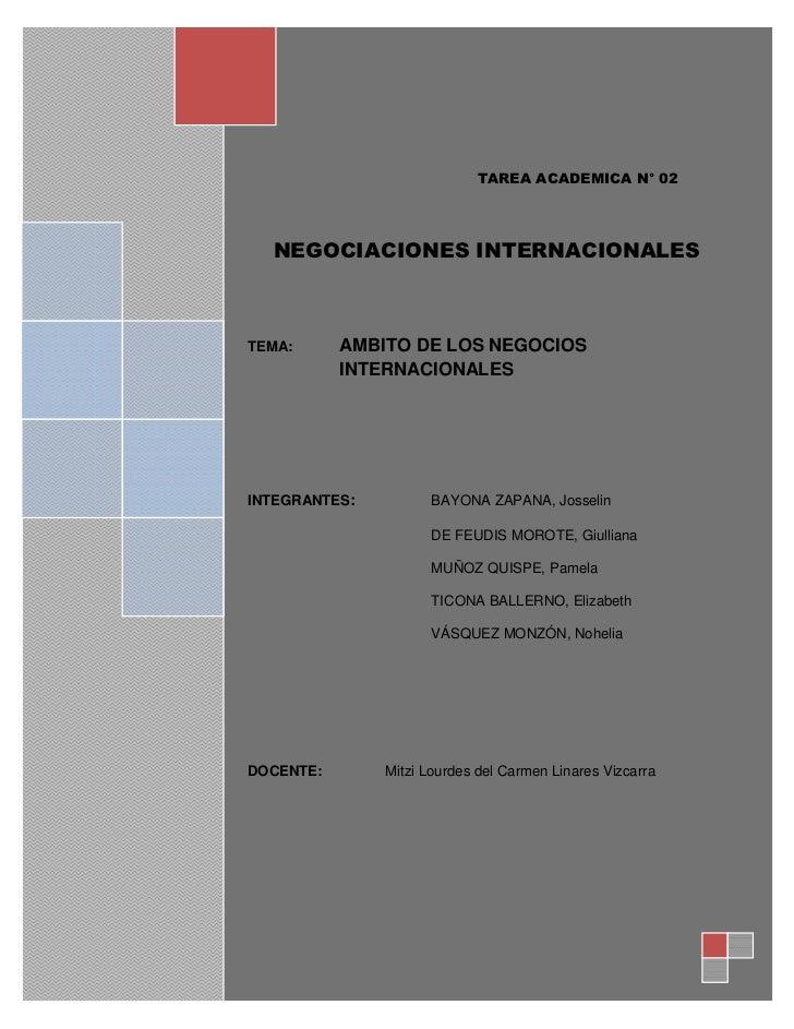 AMBITO DE LOS NEGOCIOS INTERNACIONALES                               1                                         Introducció...