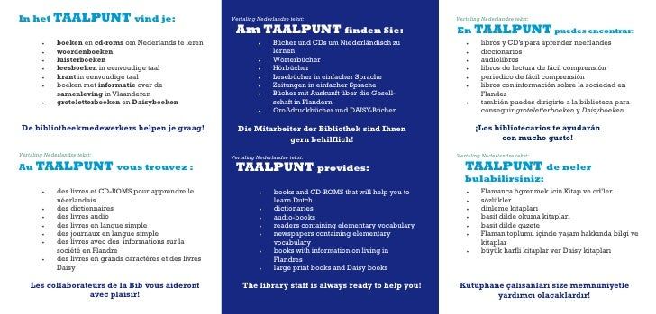 In het TAALPUNT vind je:                                      Vertaling Nederlandse tekst:                               V...
