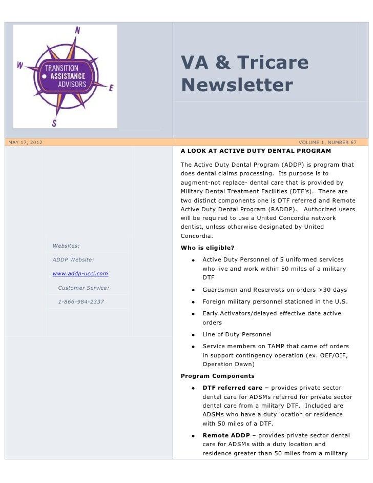 VA & Tricare                                    NewsletterMAY 17, 2012                                                    ...