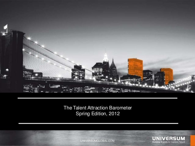The Talent Attraction Barometer     Spring Edition, 2012       UNIVERSUMGLOBAL.COM