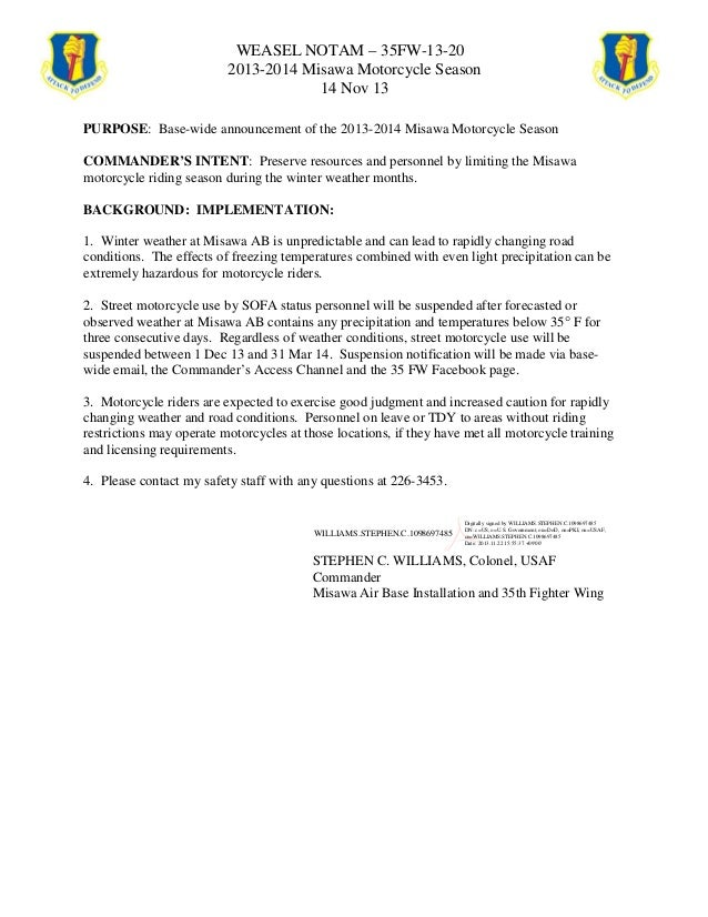 WEASEL NOTAM – 35FW-13-20 2013-2014 Misawa Motorcycle Season 14 Nov 13 PURPOSE: Base-wide announcement of the 2013-2014 Mi...